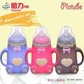 Wide-calibre garrafa de vidro com alça de silicone manga anti-queda anti-flatulência mamadeiras Materna e infantil suprimentos