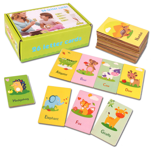 New Wooden Toys Cognitive Card English Words Letters Animals Wooden