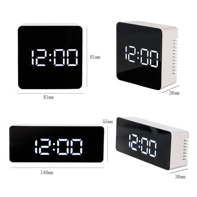 LED Mirror Alarm Clock Digital display Snooze Table Clock Wake Up Light  6