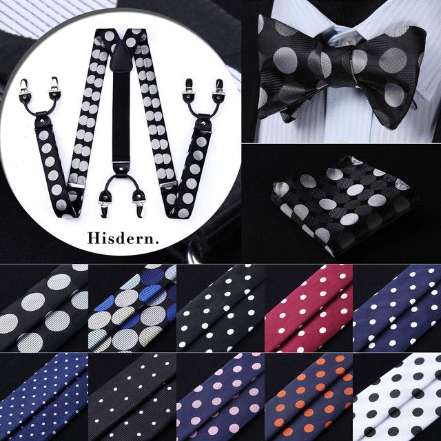 Polka Dot Various Classic Braces 6 Clips Suspenders Self Bowtie and Pocket Square Set #S1