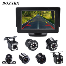 BOZXRX 4.3inch Car HD Monitor With Night Vision Rear View Camera Kit Auto Parking Backup Reverse Monitor TFT LCD Display Color 7 inch wireless car monitor tft lcd display screen with 18 led night vision rear view reverse parking camera for truck 24v