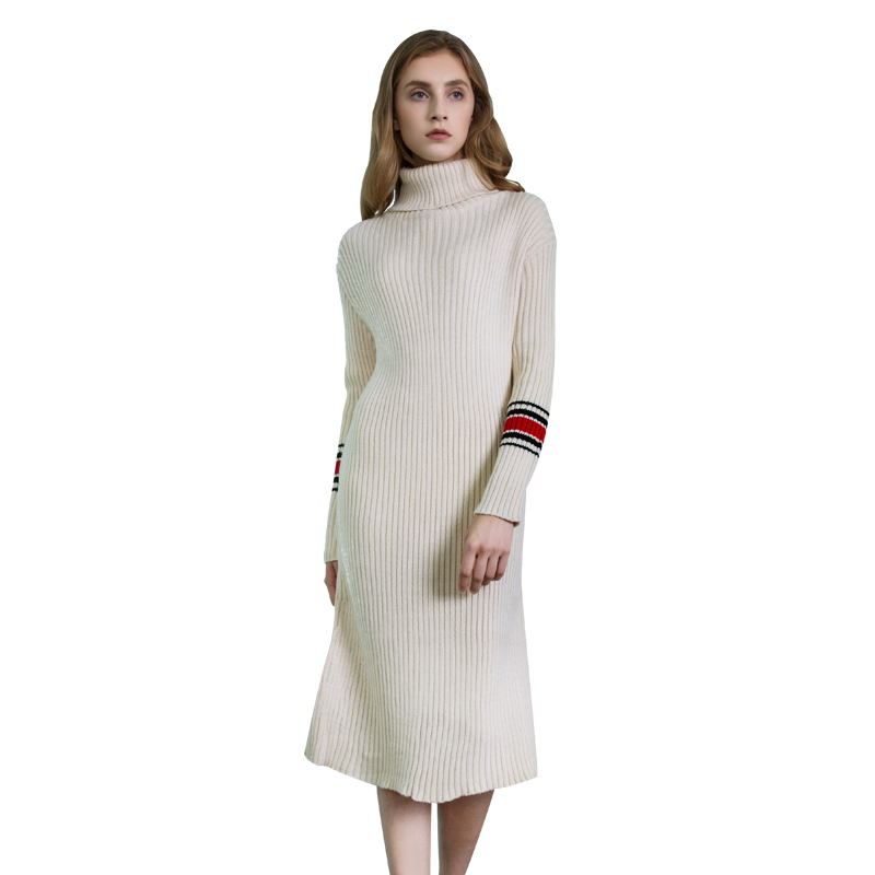 2017 British Style Women Fashion Pullover Solid Skirted Knitwear Ladies Slim Long Knitted Turtleneck Sweaters Dress Outwear