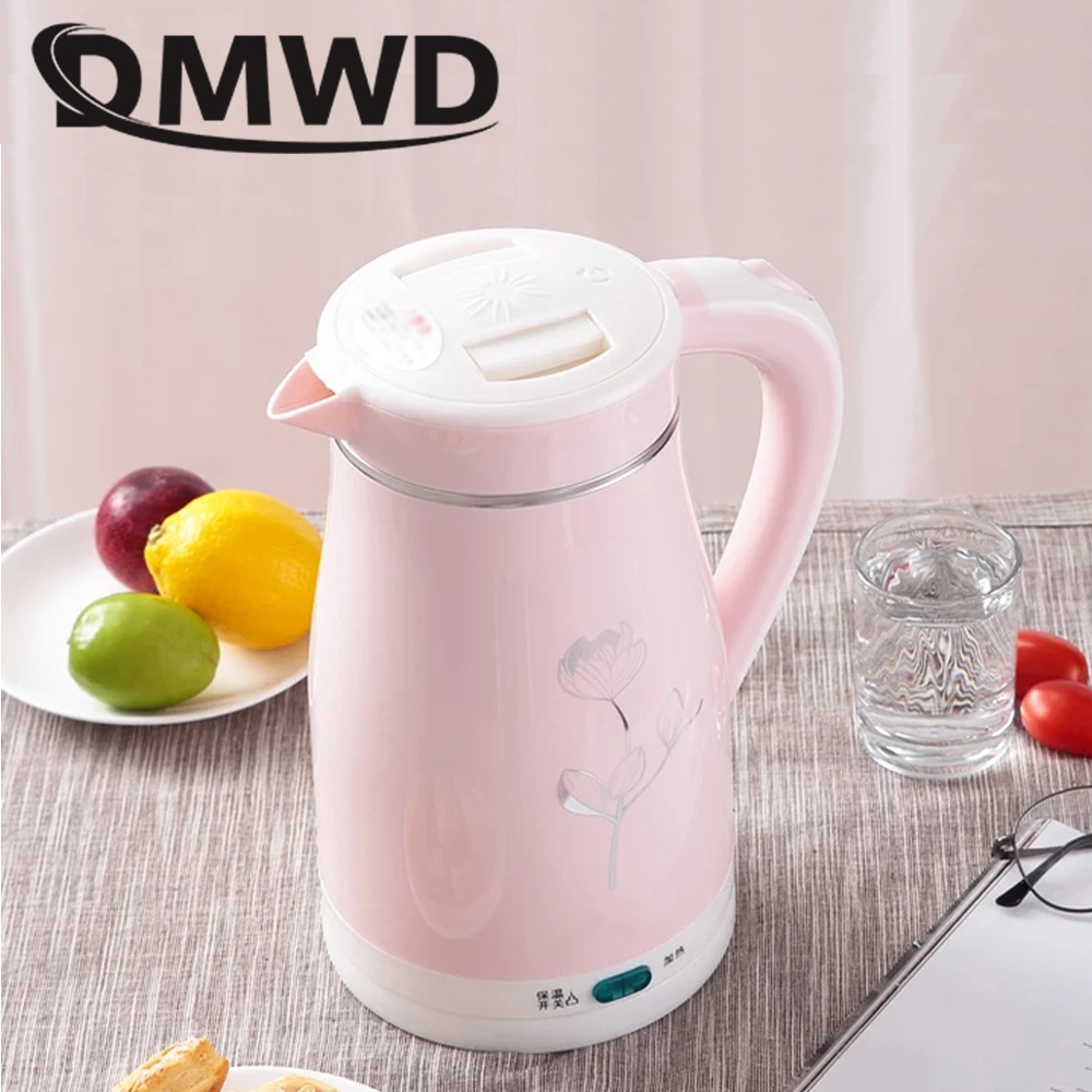 DMWD Stainless Steel Hot Water Kettles Mini 1.5L Anti-dry Boiling Thermal Insulation Electric Kettle Heating Teapot Boiler EU US dmwd household electric heating kettle insulation boiler heater stainless steel anti burning hot water bottle coffee pot eu us