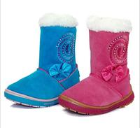 2016 New Children Shoes Winter suede shoes really Piga velvet boots children cotton rhinestone Girls snow boots 25 28
