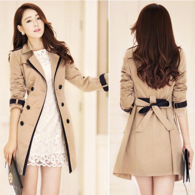 2017 Women   Trench   Coat Slim Double-Breasted Trenchcoat Casual Windbreaker Outwear Raincoat Female Plus Size