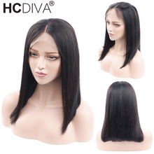 Short Bob Wig For Women 13x4 Lace Frontal Wigs Middle Part With Baby Hair Remy Human Hair Wigs Pre-Colored Brazilian Wigs HCDIVA