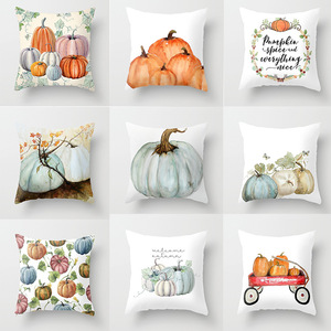 Citrouilles housse de coussin joyeux Halloween oreiller couvre bande dessinée décor à la maison peau de pêche douce pour canapé-lit étuis décoratifs 45x45cm