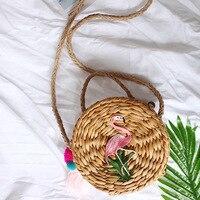 Ins Summer Diagonal Hand woven Woven Straw Wrapped Tassel Beach Retro Round Shoulder Bag Flamingo Women Bag Purse Luxury Handbag