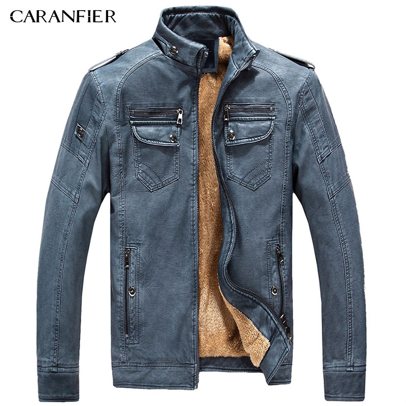 CARANFIER Men Fleece Thick Leather Jacket Casual Outerwear Fashion Businessmen Style Buttons Stand Collar Warm Windproof Coat