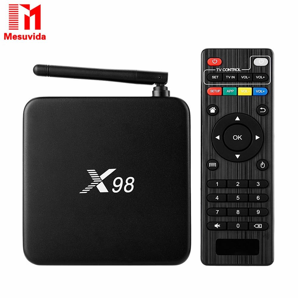 Prix pour X98 Intelligent Android TV Box Amlogic S905 Quad Core 2 GB 16 GB 2.4 GHz WiFi 4 K * 2 K Set Top Box Bluetooth4.1 Media Player Dernière Codi