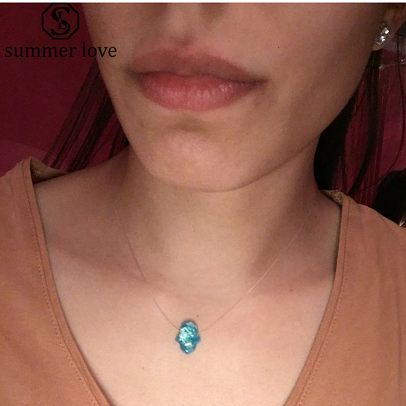 Blue White Opal Hamsa Custom Necklace Hand Fatima Pendant Necklace Women Transparent Chain Choker Jewelry Collier 2020 Fashion