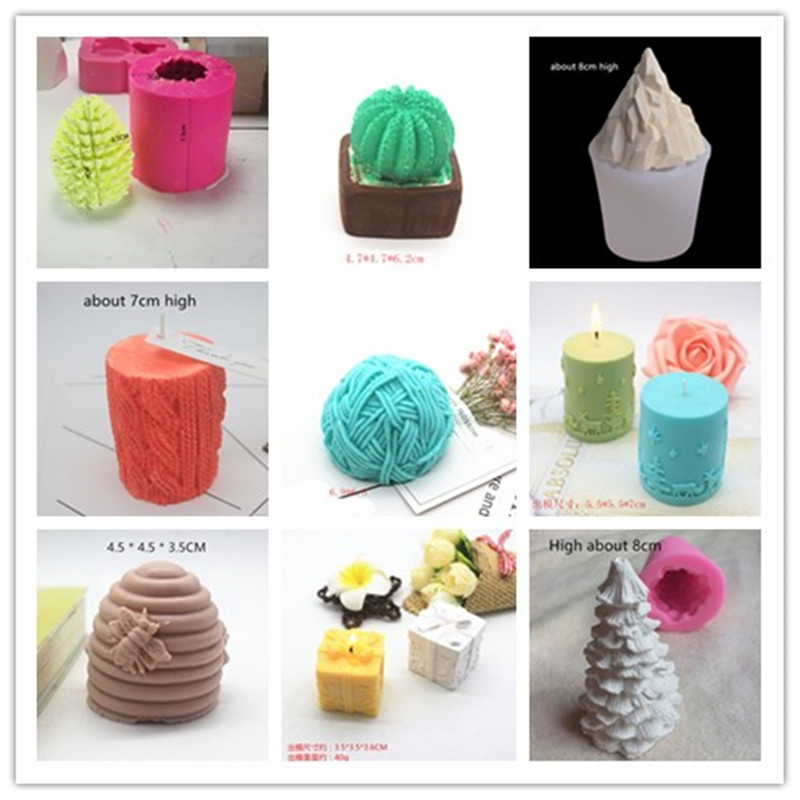 Plaster Gypsum Flower Craft Chocolate Cake Decorating Mould Handmade 3D Cactus Silicone Candle Molds for Candle Making Mold