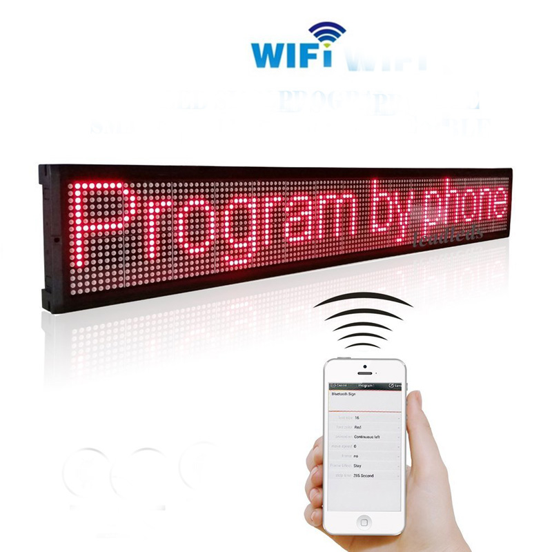 7.8x27inch Wifi LED Signs Programmable Message Board,LED Sign Screen Message Display snowshine2 2022 new pc programmable wireless led custom message bike cycle motor wheel lights