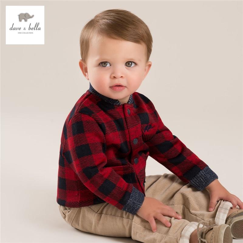 ФОТО DB3917 dave bella baby boy grid coat children outerwear