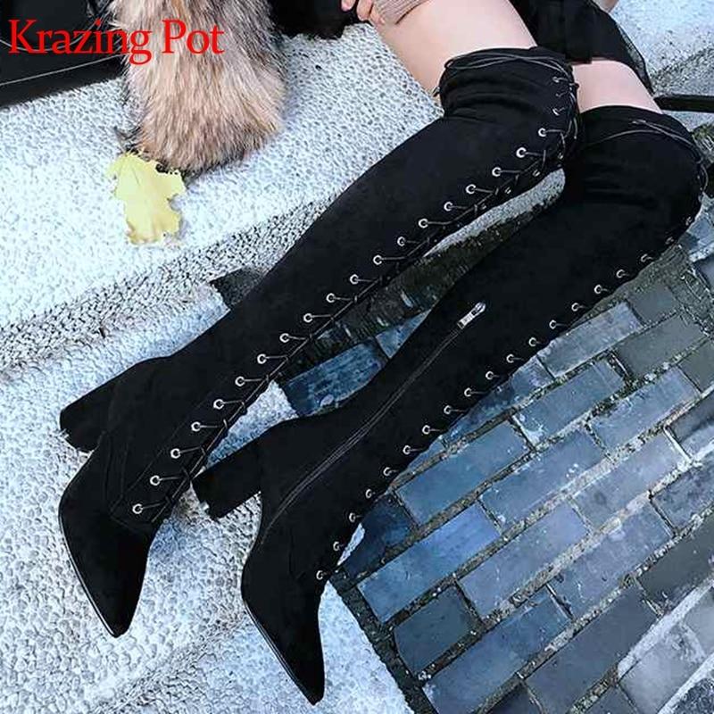 L16 1 attaché Troupeau balck Rivets Black Chaud Haute D'équitation Croix Bottes Gladiateur 2 Dentelle Bout Krazing Cuisse Pot Talons Garder Up Au Pointu Stretch SZqF5Hw1