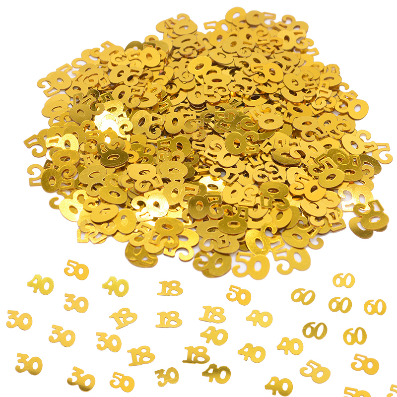 1pack Gold <font><b>Confetti</b></font> Birthday Wedding Party Table Scatters Decor Numbers 18 <font><b>30</b></font> 40 50 60 Digital <font><b>Confetti</b></font> Sprinkle Party Supplies image