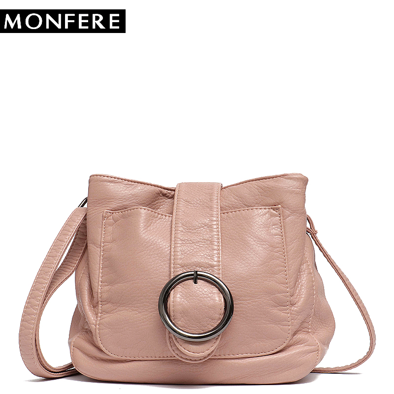 MONFERE Brand Candy Color Women Messenger Bag Wash Pu Leather Girls Soft Small Handbag High Quality