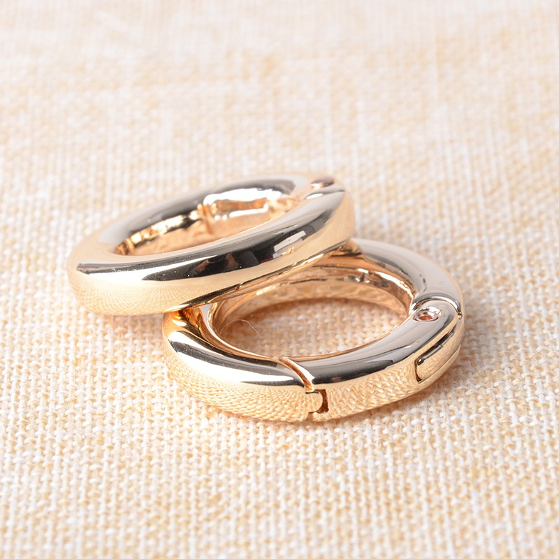 20pcs Metal Spring Gate O Ring  20mm Carabiner Round Trigger Buckles Hooks Openable Keyring Clips Leather Bag Strap Outdoor Too