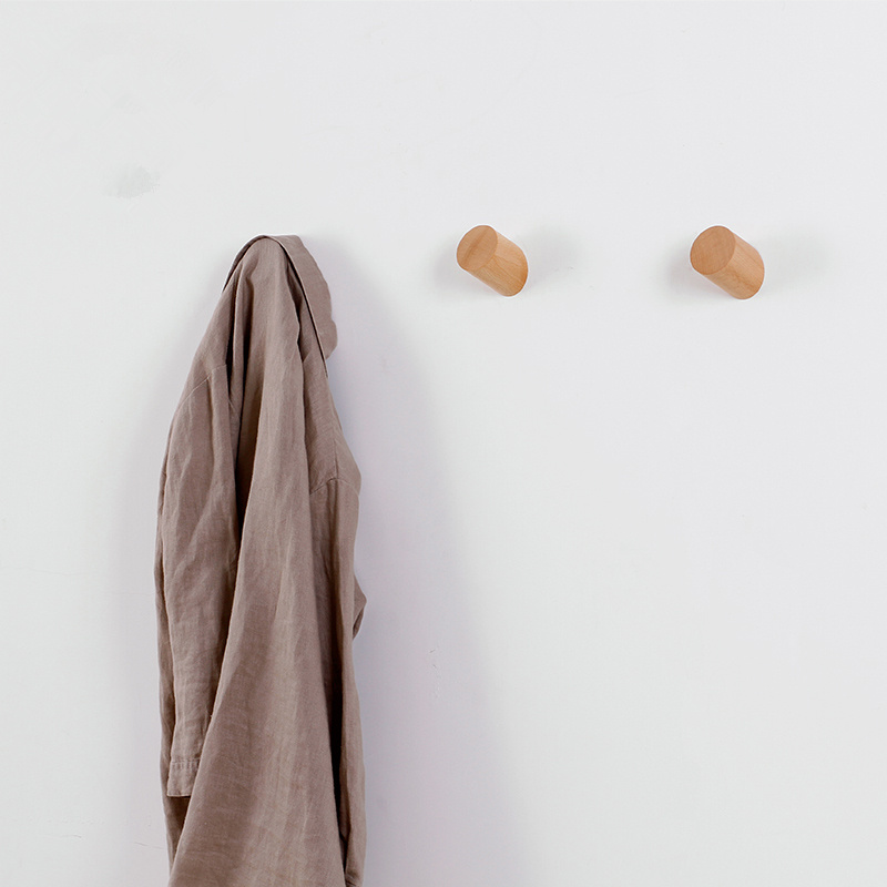 Solid Wood Coat Rack Wall Clothes Hanging Hook Wood