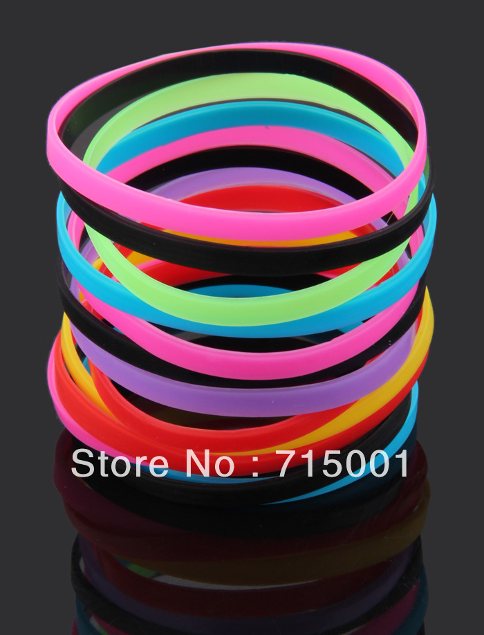 100pcs Plain Mutilcolor 6mm Silicone Rubber Friendship Bracelet Wristbands Jewelry Hot Gift Whole Bulk Free Shipping In Id Bracelets From
