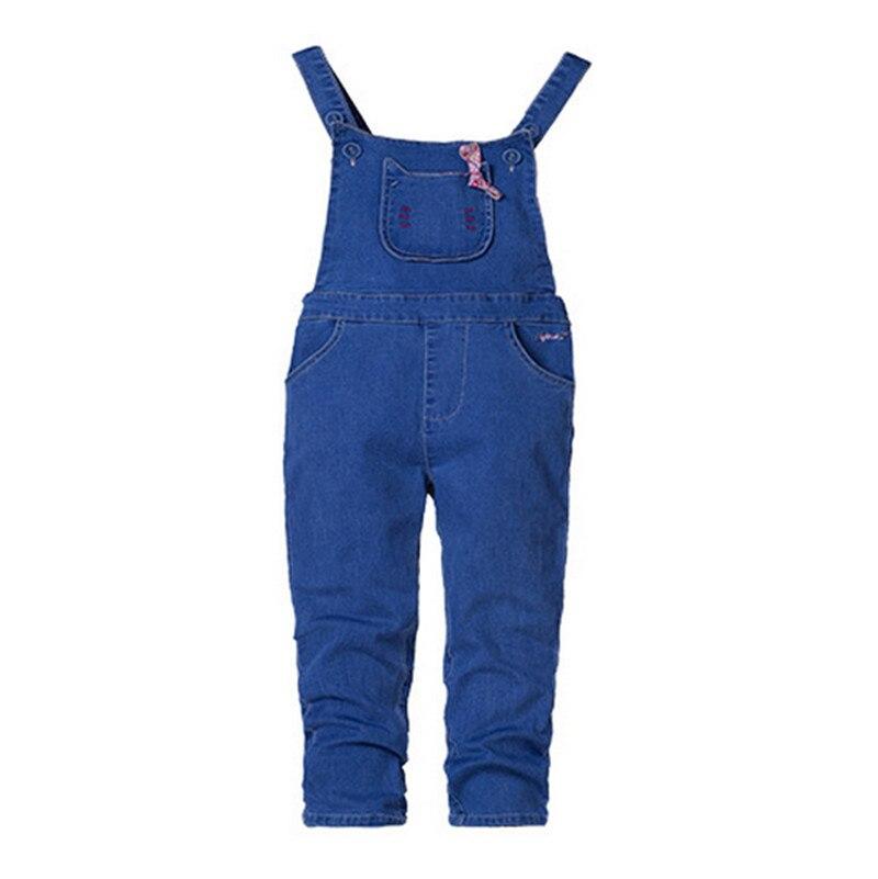 KAJEANII Spring Autumn Children Girls Strap Jeans Pants Leisure Kids Trousers For 2 8T Color Blue