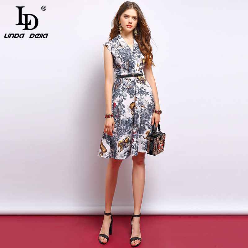 LD LINDA DELLA 2019 Fashion Summer Vintage Dress Women s Sexy V Neck Draped Tiger Printed