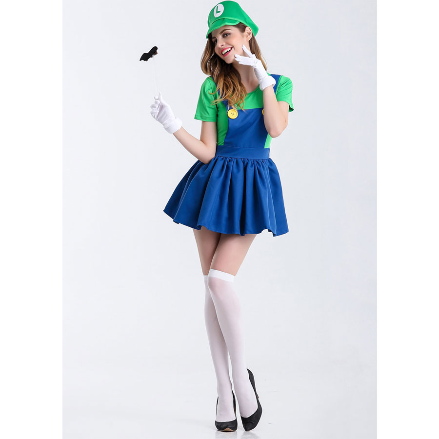 Umorden Halloween Purim Party Costumes Game Super Mario Luigi Costume Dresses for Women Fancy Cosplay Dress Clothing in Game Costumes from Novelty Special Use