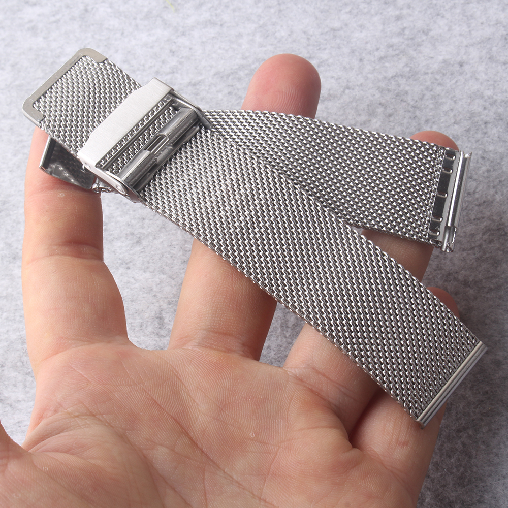 Watch bands 14mm 16mm 18mm 20mm 22mm Silver Metal Watchband Strap Bracelets Double Safety Deployment Watch Buckle mesh shark new loose stainless steel silver shark mesh watchband bracelets special end safety buckle 18mm 20mm 22mm 24mm promotion men s straps