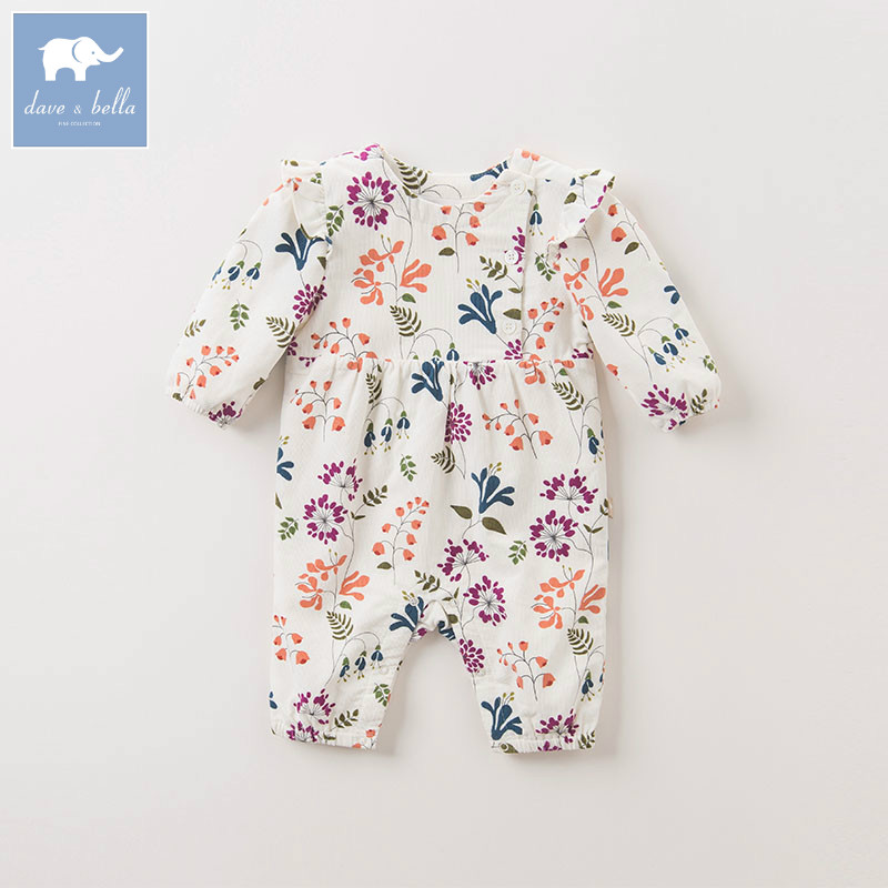 DB5738 dave bella autumn new born baby cotton romper infant clothes girls floral cute floral romper baby 1 piece pudcoco newborn infant baby girls clothes short sleeve floral romper headband summer cute cotton one piece clothes