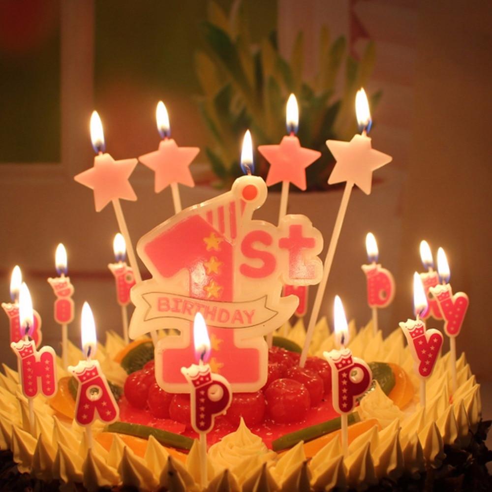 4pcs Happy Birthday Candle Love Heartstar Sticks Design Cake Topper