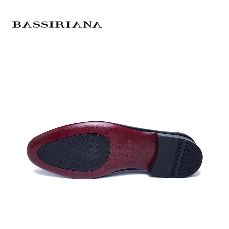BASSIRIANA 2019 Fashion Style Men Shoes High Quality Brand Genuine Leather Shoes Business casual men's shoes