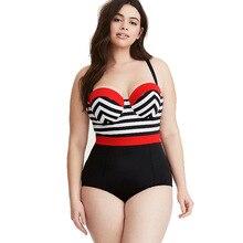 5713d9b625266 ZWEMPAK Striped Print Red Black Patchwork Women One Piece Swimsuit Plus  Size XL 4XL