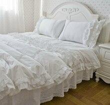 Fairyfair elegante rizado blanco juegos de cama, full twin queen king size lujo de boda romántico ropa de cama bedskirt almohada cubierta del edredón