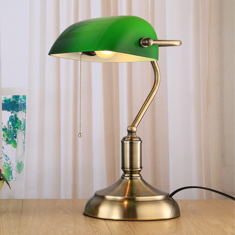 Retro vintage table lamp emerald green glass lamp shade bronze iron retro vintage table lamp emerald green glass lamp shade bronze iron base bank office desk lamp study table lamp old fashioned in table lamps from lights aloadofball Gallery