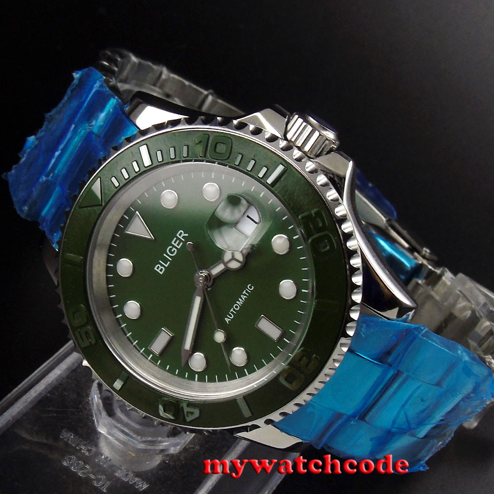 40mm Bliger green dial vintage date sapphire crystal automatic movement watch 75