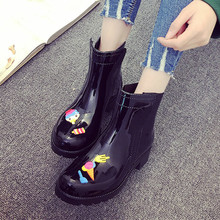 Rouroliu Autumn Non-Slip Women Ankle Rainboots Female Candy Colors Cartoon Waterproof Water Boots Woman Wellies RT290