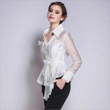 Korean New Fashion Women Clothes 2016 V-neck Long Sleeve White Shirt Women Office Wear White Elegant Pure Silk Blouses