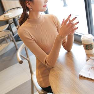 Half high necked sweater 2018 new head knitted tight fitting elastic knitted sweater Hot sale
