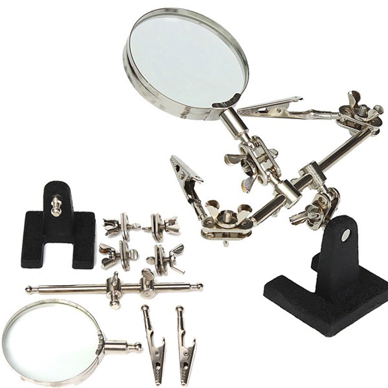 Third Hand Soldering Iron Stand Helping Clamp Magnifying Glass with 2 Alligator Clips for Electronic Appliance Repairing
