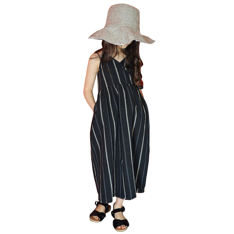 3-12 Yrs Big girl Striped long Dress for 2018 new summer china style loose Cotton and linen vest Dress Simple Straps beach dress цены онлайн