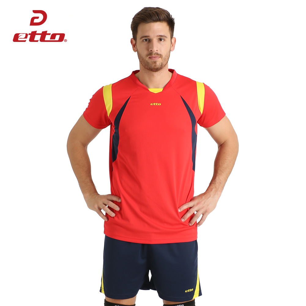 Etto New Male Sport Atmungsaktiv Kurzarm T-shirt Und Shorts Volleyball Anzug Professionelle Volleyball Trikots Uniformen HXB006