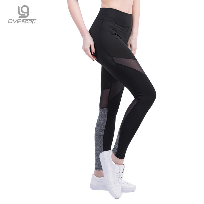 Hot Sale Ladies High Waist Mesh Patchwork Women Pants Workout Fitness Leggings Women Elastic Waist Slim Exercise Leggings