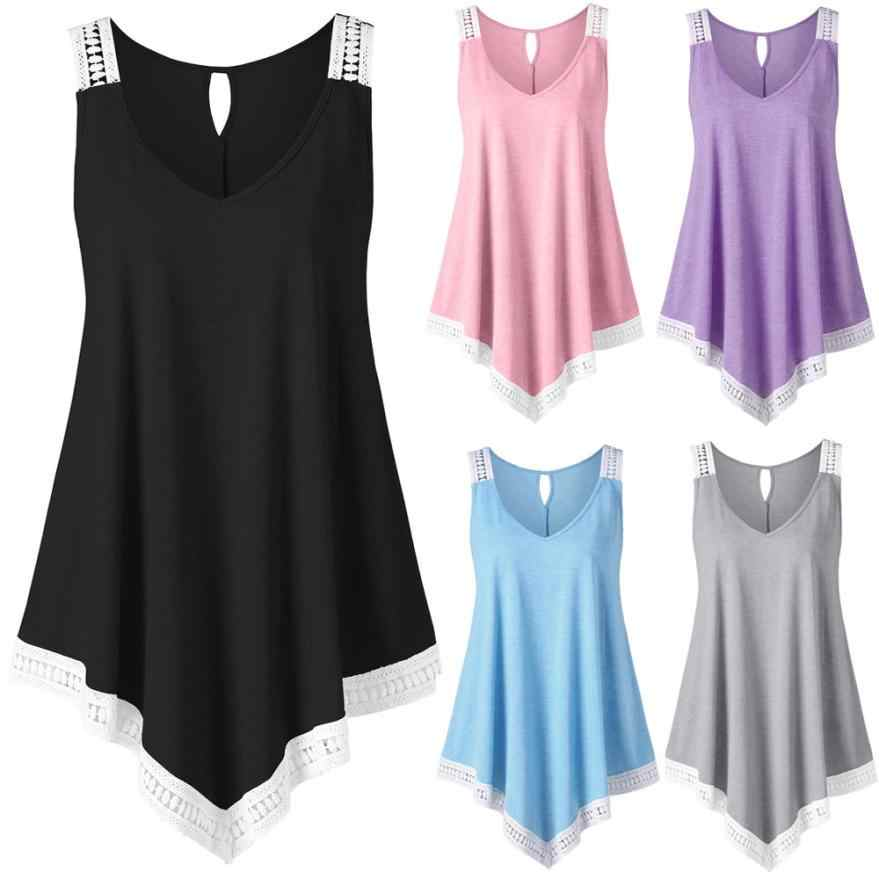 Swing Lace Asymmetrical Solid Vest Tank Tops Fashion Womens Casual V-neck tank  top fitness a2197cbc3fae