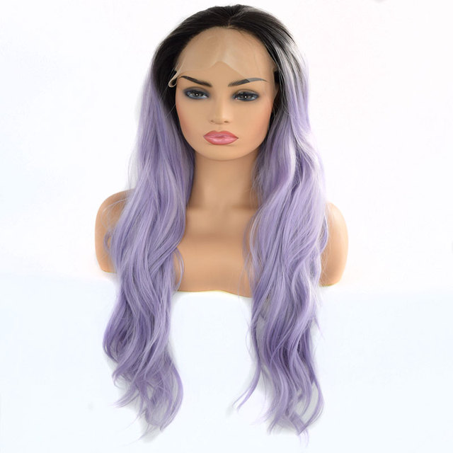 Bombshell Synthetic Lace Front Wig Natural Wave Black Root Ombre Light  Lavender Purple Heat Resistant Fiber