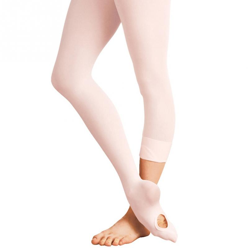 Dancer Wearing Stockings Girls Convertible Foot Ballet Dance Tights Transition Seamless Tights Dancing Socks
