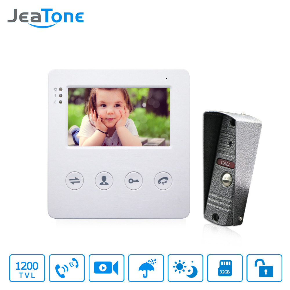 JeaTone 4 Inch Kabel Video Pintu Telepon Bel Sistem Interkom Kit 1 Kamera Dengan 1 Monitor IR Night Vision Access Control