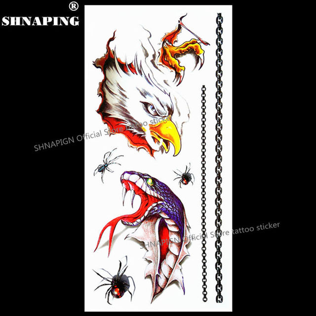 SHNAPIGN 3d Temporary Tattoo Body Art Flash Tattoo Stickers 19x9cm Waterproof Styling Tatoo Home Decor Sticker Fierce Snake Hawk