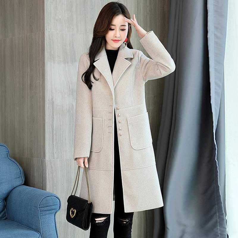 Poitrine Laine Mode Nouvelle pink Unique De Veste Survêtement 2018 Manteau beige Dames Ly346 D'hiver Coréenne Élégant Slim Tempérament Femmes Blue g1xdRv