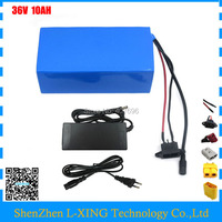 Hot sale 500W 36 Volt Electric Bicycle Ebike Battery 36v 10Ah with PVC Cased built in 18650 cell with 15A BMS + 42V 2A Charger