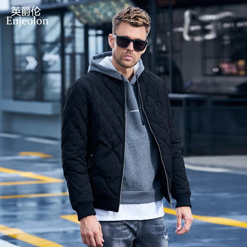 Enjeolon Brand winter Cotton Padded Jacket Men thick geometric   Parka   coat male Quilted winter jacket Coat 3XL MF0703